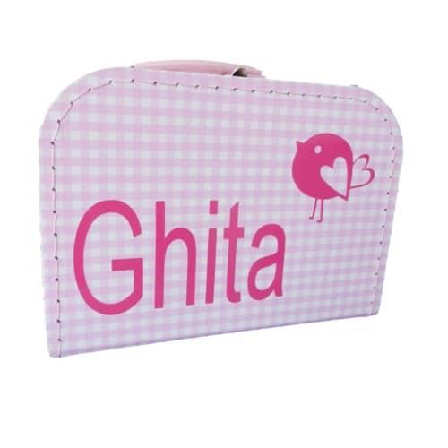 Roze/wit koffertje met naam