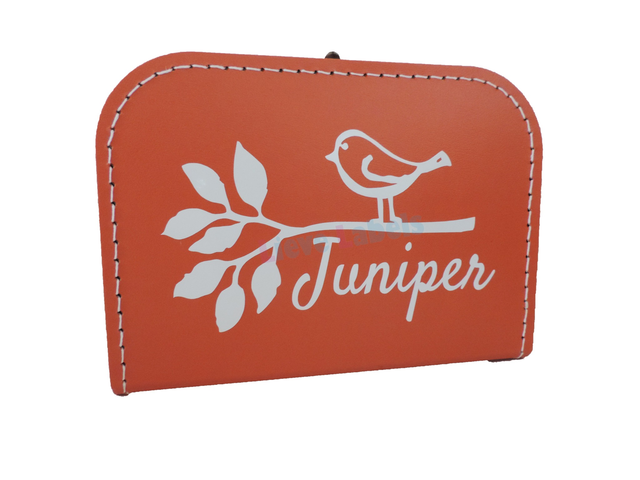 Oranje koffertje met naam en/of afbeelding