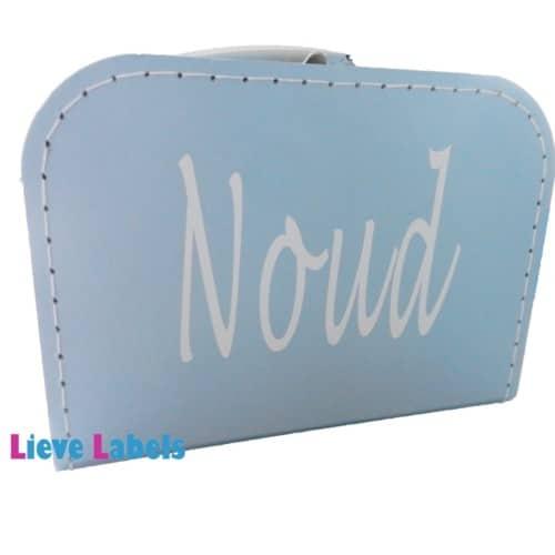 Lichtblauw koffertje met naam en/of afbeelding
