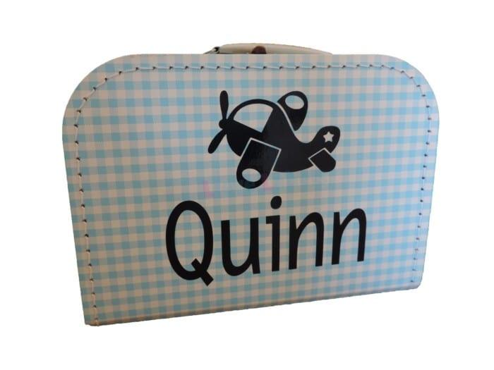 Blauw geruit koffertje met naam