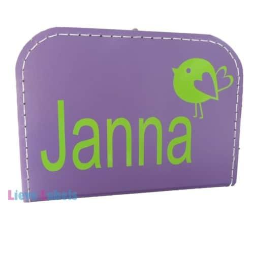 Paars koffertje met naam en/of afbeelding