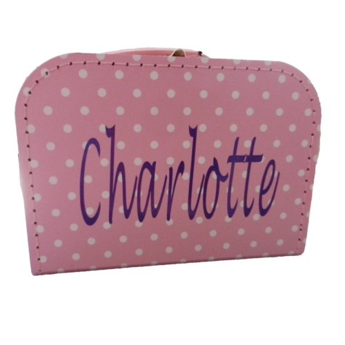 koffertje roze stip