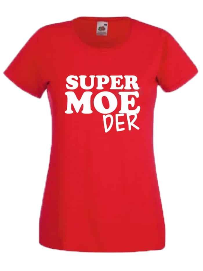 Shirt supermoeder rood