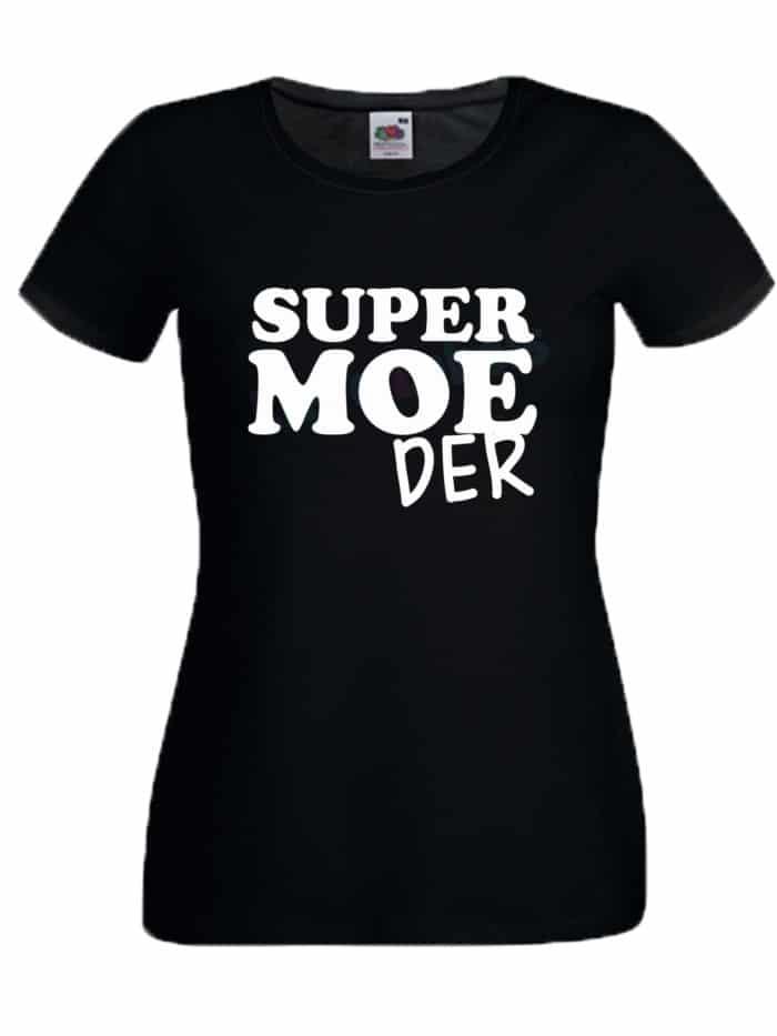 Shirt supermoeder zwart