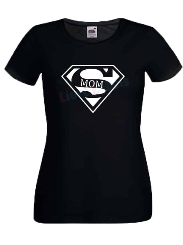 Shirt supermom zwart