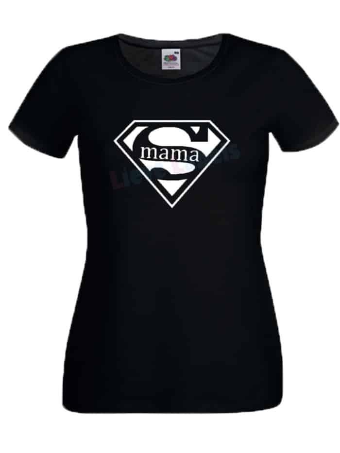 Shirt supermama zwart