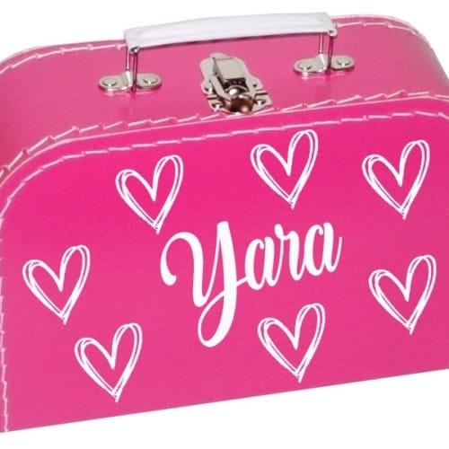 fuchsia koffertje met naam