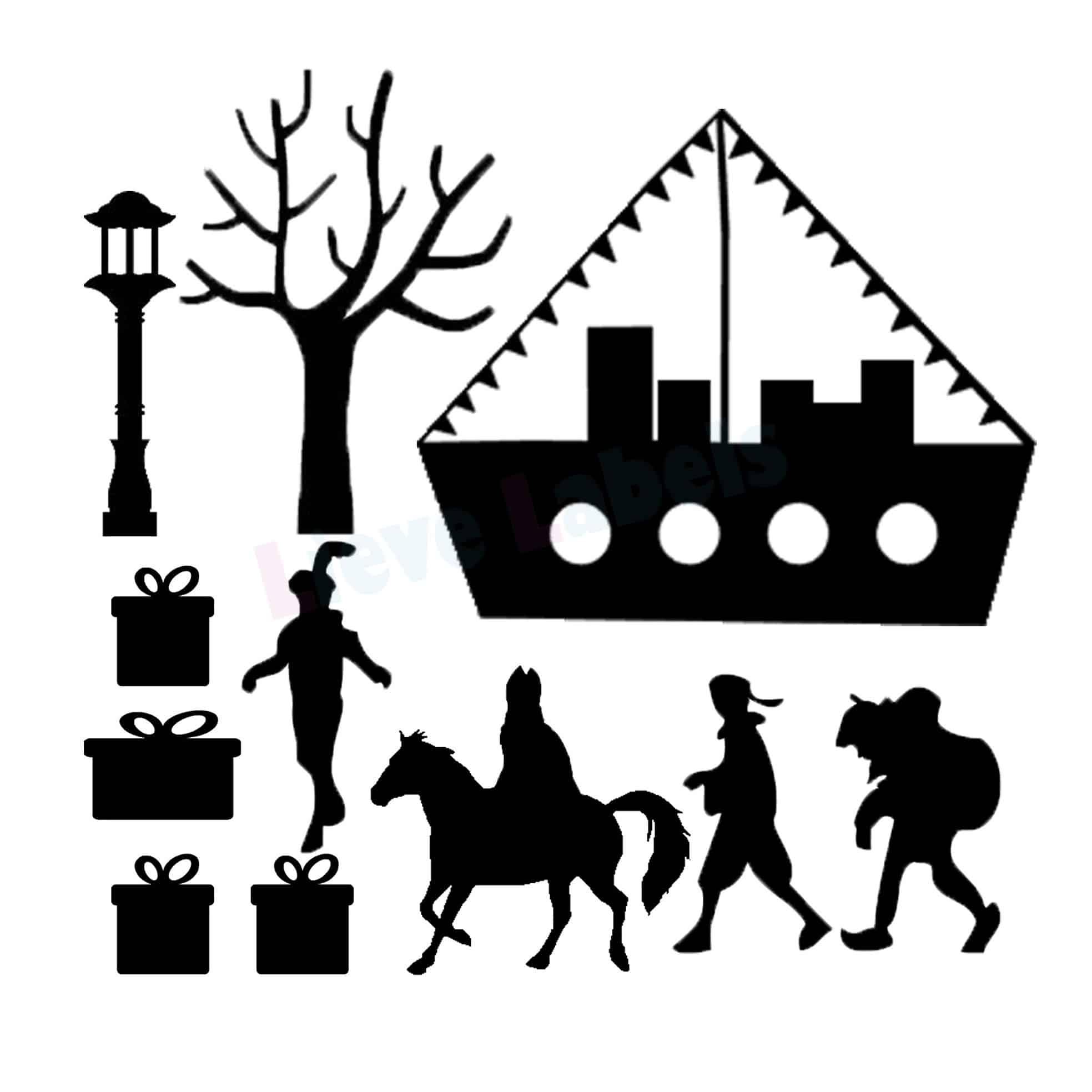 Herbruikbare statische raamstickers - Sinterklaas