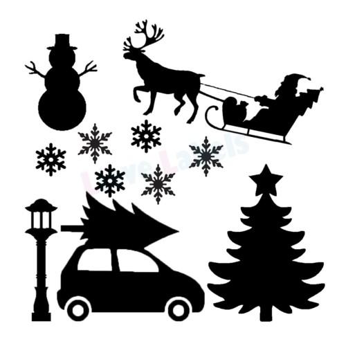 Herbruikbare statische raamstickers - Kerst
