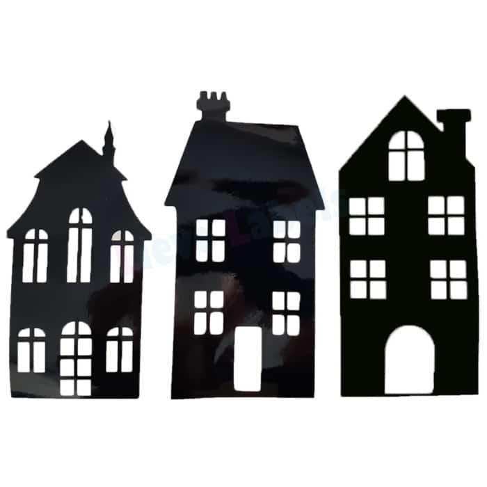 Herbruikbare statische raamstickers - Huisjes