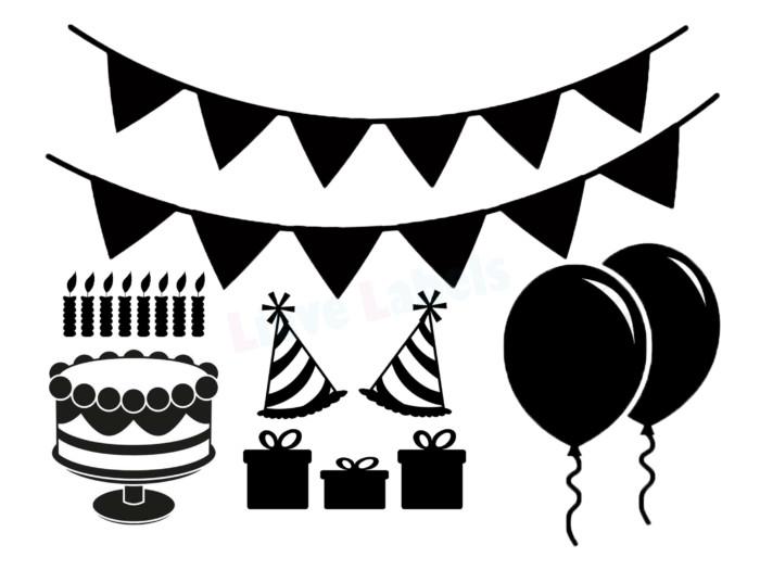 Herbruikbare statische raamstickers - Verjaardag