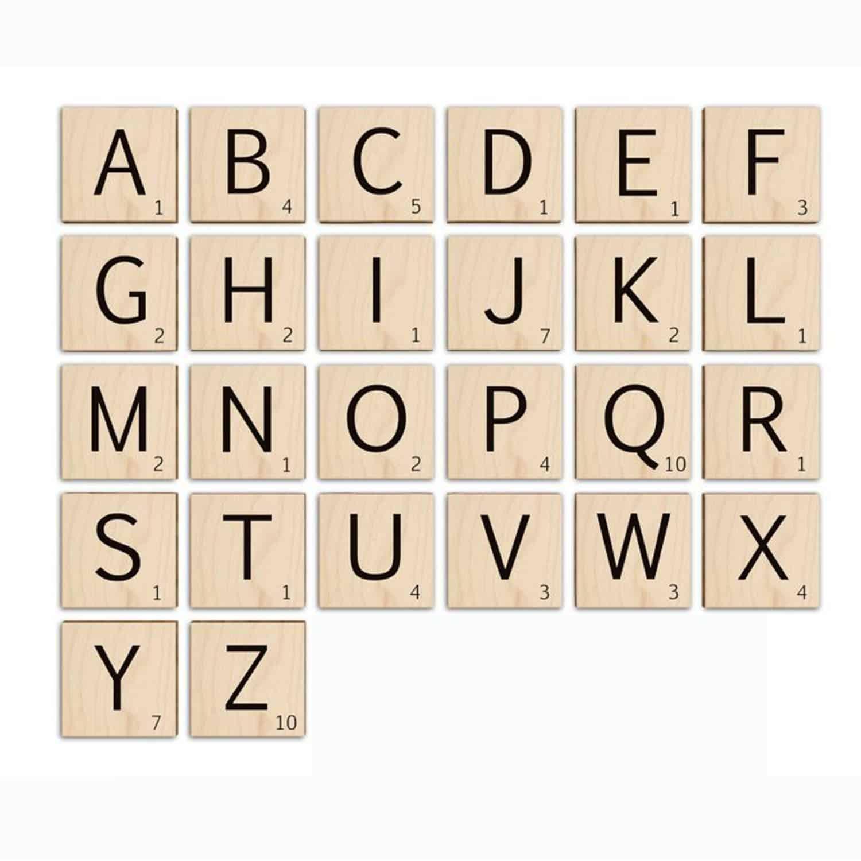Scrabble letters XL - met opdruk naar wens - Lieve Labels.nl