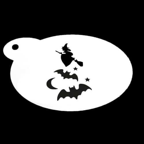 Schmink sjabloon - Heks en vleermuizen